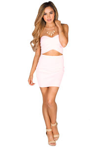 """""""Elle"""" Baby Pink Sweetheart Strapless Cut Out Mini Dress image"""