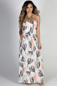 """Happiness"" Pastel Floral Print Strapless Maxi Dress with Pockets image"