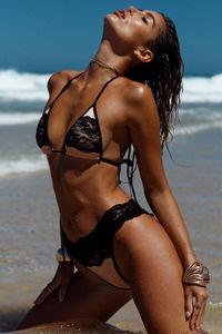 Maui Blush & Black Lace Band Scrunch Bottoms  image