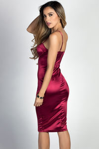"""Alyssa"" Burgundy Satin Bustier Cocktail Dress image"