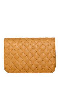 Tan Diamond Stitch Clutch W/ Detachable Shoulder Strap image