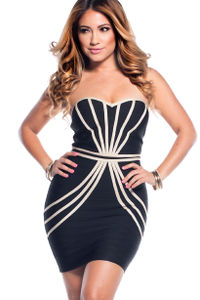 """Katy"" Black and Tan Sweetheart Strapless Bandage Dress image"