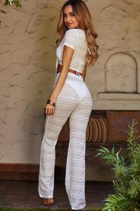 Bora Bora White Crochet Front Tie Crop Top & Pant Set image