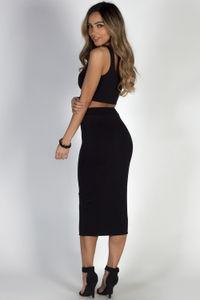 """""""On the Horizon"""" Black Two-Piece Bodycon Midi Dress image"""