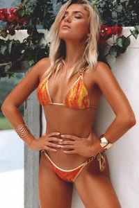 Laguna Orange Crocodile & Gold Triple Chain Bikini Top image