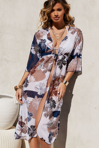 Navy Floral Beach Cover Up w/ Drawstring Waist image