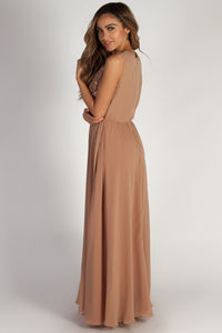 """Sweet Bliss"" Dark Champagne Sleeveless Crochet Lace Maxi Dress image"