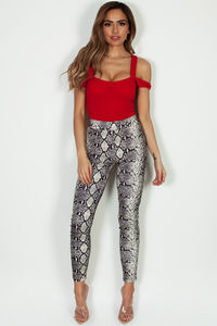 """""""Opportunity Costs"""" Beige Python Skinny Pants image"""