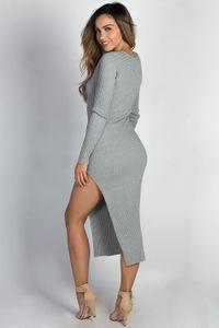 """Celine"" Gray Long Sleeve Thigh High Slit Long Sweater Dress image"
