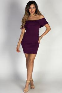 """Endless Summer"" Plum Purple Short Bodycon Off Shoulder Ruffle Dress image"