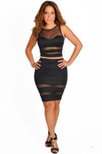 """Zara"" Black Sheer Mesh Two Piece Dress image"