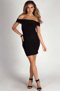 """Say Less"" Black Off Shoulder Ruched Bodycon Mini Dress image"
