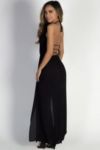 "Free Me"" Black Halter Maxi Dress image"