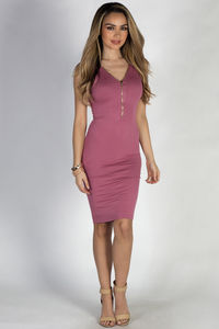 """Under Your Skin"" Rose Zip Front Tank Midi Dress image"