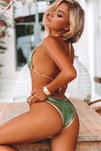 Panama Olive & Gold Triple Chain Bikini Bottom image
