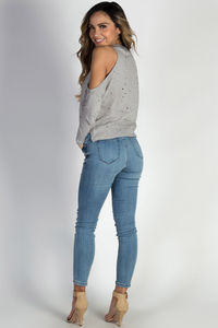 """Becky"" Blue Distressed Denim Skinny Jeans image"