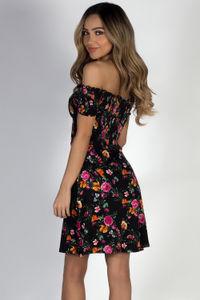 """""""My Dream"""" Black Floral Off Shoulder Dress image"""