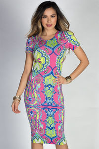 """Jamie"" Pink & Lime Moroccan Print Short Sleeve Bodycon T Shirt Midi Dress image"