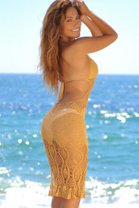 Passion Flower Gold Backless Crochet Midi Dress Cover Up image