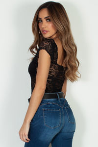 """Modal Soul"" Black Lace Closed Back Bodysuit image"