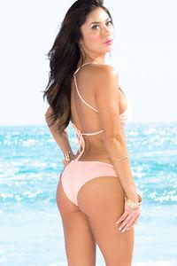 Cassia Blush Lattice Cut Out High Neck Halter Bikini Set image