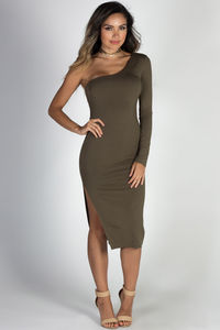 """Tease Me"" Olive One Shoulder Midi Dress image"