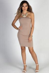 """PYT"" Mocha Strapless Jersey Mini Dress image"
