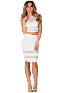 """Zara"" White Sheer Mesh Two Piece Dress image"