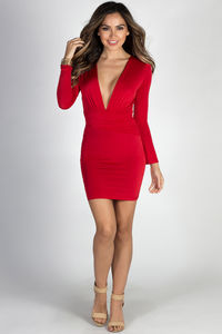 """Embrace"" Red Deep V Long Sleeve Mini Dress image"