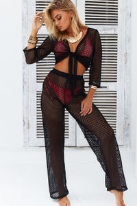 Jamaican Sunset Black Fishnet Two Piece Beach Cover Up image