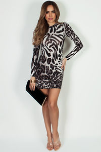 """""""Gone By The Weekend"""" White Leopard Print Long Sleeve Dress image"""