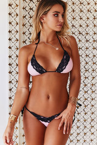 Baby Pink Polka Dot & Black Edge Lace Triangle Top image