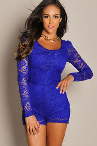 """Carmen"" Royal Blue Back Cut Out Long Sleeve Lace Romper image"