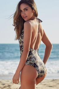 Heather Black Palm Keyhole Halter One Piece Swimsuit image
