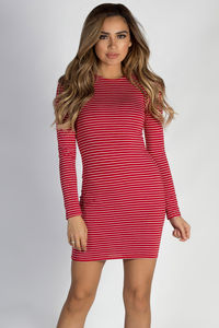 """""""Let Me Breathe"""" White Striped Red Long Sleeve Dress image"""