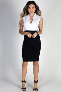 """Champion"" White & Black Sleeveless Color Block Midi Dress image"
