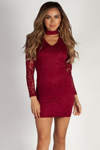 """Lucid Dreams"" Burgundy Cut Out Collar Lace Dress image"