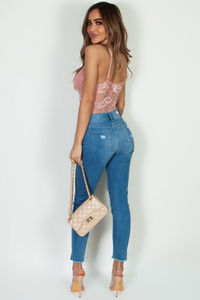 """Unraveled"" High Waist Vintage Denim Skinny Jeans image"
