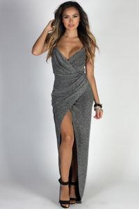 """Silver Screen Siren"" Dark Silver Sparkly Lurex Wrap Maxi Gown image"