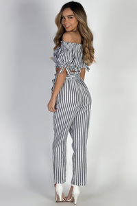 """""""Livin' My Best Life"""" Grey Striped Pants with Front Tie image"""