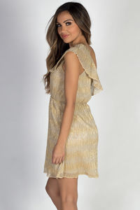 """Midas Touch"" Gold Metallic Crinkle Chiffon Ruffle Dress image"