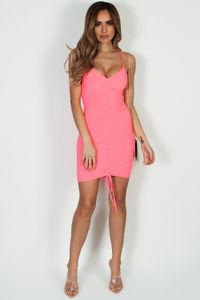 """Love Sick"" Neon Pink Spaghetti Strap Ruched Mini Dress image"