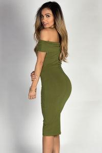 """Arianna"" Olive Off Shoulder Bodycon Midi Dress image"