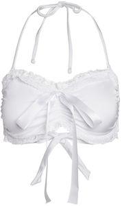 Aruba White Bridal Ruffle Lace Bikini Top image