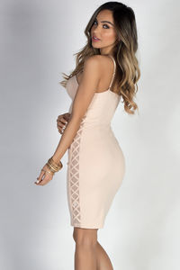 """""""Then We Kiss"""" Nude Lace Up Sides Mesh Cut Out Bustier Cocktail Dress image"""