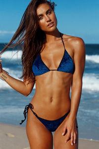 Laguna Classic Royalty Blue & Black Velvet Bikini Top image