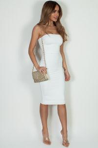 """""""Into You"""" Off White Basic Tube Mini Dress image"""