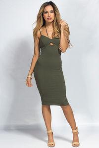 """Brylee"" Olive Green Multistrap Empire Waist Bodycon Midi Dress image"