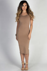 """""""One & Only"""" Taupe Scoop Back Short Sleeve Midi Dress image"""