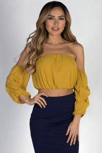 """Sexy Thing"" Mustard Off Shoulder Chiffon Top with Ruched Sleeves image"